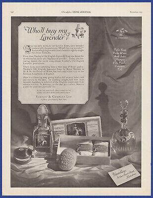 Vintage 1923 YARDLEY Old English Lavender Soap Toilet Water Decor Print Ad 20's
