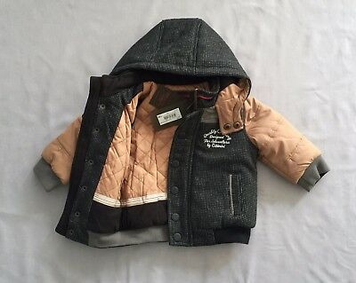 NWT CATIMINI GRAPHIC CITY PADDED HOODED COAT/ JACKE 12 months 1 yr 74 RRP $210