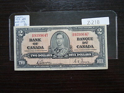 Vintage Canada Banknote 1937 2  Dollar Nice  Quality Value  90.00     T218
