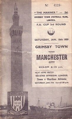 GRIMSBY v MANCHESTER CITY 1958/59 FA CUP 3RD ROUND