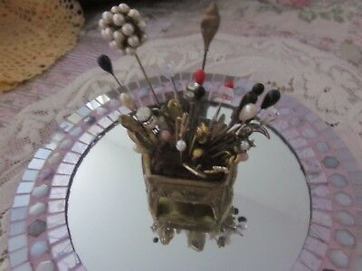 Vintage Art Nouveau Cast  Casket Pin Cushion/ Hair Pin Holder