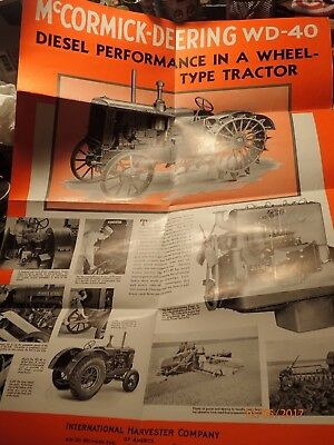 Antique 1926 IH McCormick-Deering WD-40 Tractor Sales Fold-out Poster