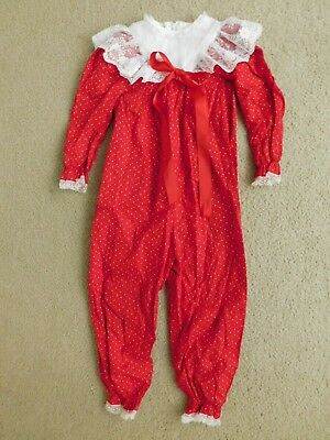 4T Vintage Bryan Red And White Lace Frilly Pants Suit Jumper Jumpsuit Fabulous