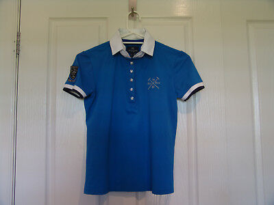 Competition show shirt with rhinestone buttons blue size M