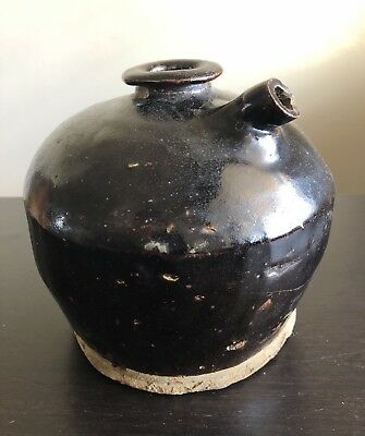 Antique Chinese Brown Glazed Pottery Wine Pot Jug Original Art Handmade NR