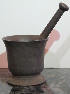 Large Antique Cast Iron Apothecary Mortar and Pestle by F. W. Braun Los Angeles