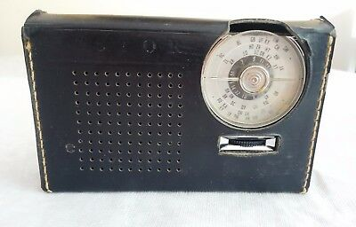 Vintage Astor Portable Transistor Radio in Leather Case. Made in Australia