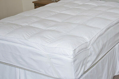 """Luxurious Goose Feather & Down Mattress Topper 1"""" & 2"""" With Cotton Cover"""