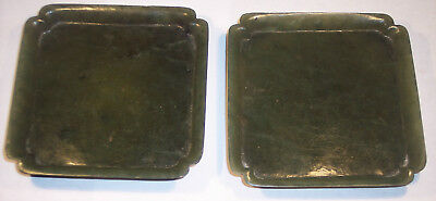 2 Fine Antique Chinese Carved  Nephrite Spinach Jade Stone  Dish  Tray Ex Cond