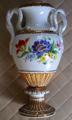 FINE *Marked* Meissen-Style Porcelain Urn Snake Handle Flowers  Antique German $