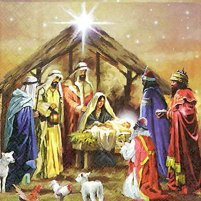 4x Paper Napkins for Decoupage Nativity Collage