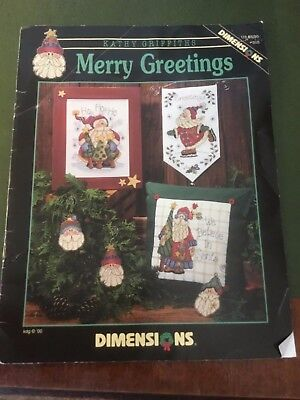 "Dimensions Christmas cross stitch pattern called ""Merry Greetings"" by Kathy Grif"
