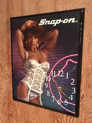 Vintage Snap-On Pin Up Girl Lingerie Wood Wall Clock - Works!! - FREE SHIPPING!!