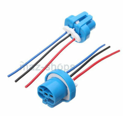 2Pcs Wire Harness Pigtail Female 9007 HB5 Ceramic Head Light Bulb Connect Socket