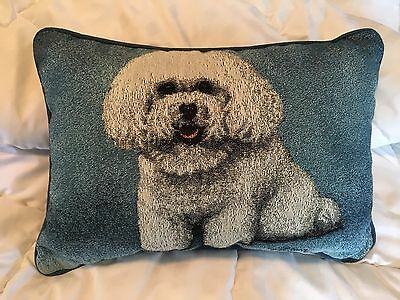Bichon Dog Tapestry Pillow By Linda Pickens W/ Blue Background
