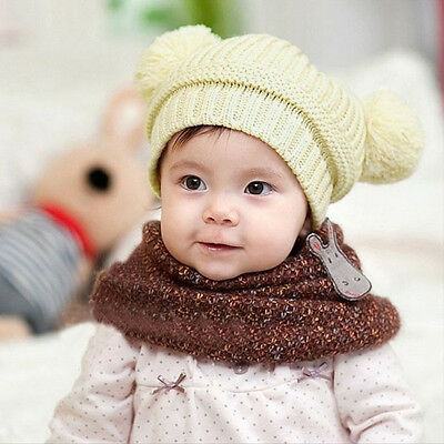Infant Baby Kids Girl Boy Dual Balls Warm Knitted Cap Beanie Hat Photo Prop NEW