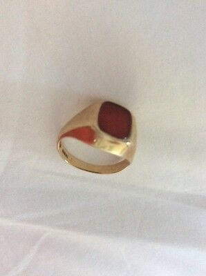 9kt Gold Signet Ring With Red Stone - Very Lovely!