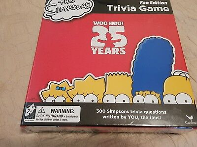 The Simpsons Trivia Board Game Fan Edition 25th Anniversary  New and Sealed .