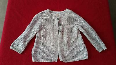 Girls Seed Grey Marle Cotton Cardigan | Size 3