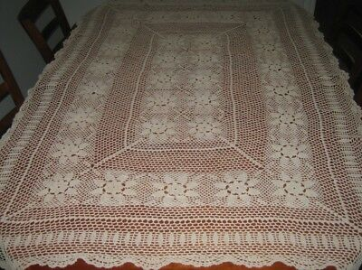 Vintage Crocheted Lace Tablecloth ~ Cotton ~ Beige ~ Oblong