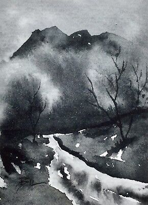 ACEO Original Art Watercolour Painting by Bill Lupton - Rocky Mountains