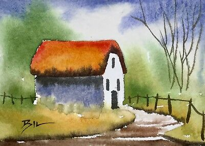 ACEO Original Art Watercolour Painting by Bill Lupton - Home down the Lane