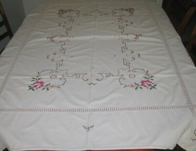 Vintage Hand Embroidered & Lace Tablecloth ~ Cotton ~ Cream ~ Oblong