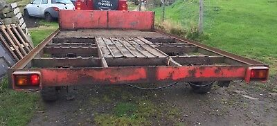 4 Wheel Trailer 13 Ft x 7 Ft flat bed  twin axle braked,farm trailer spares or