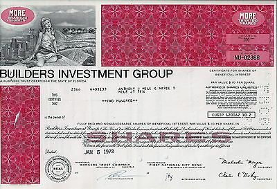 Old Stock / Bond USA - Builders Investment Group, 1972 (200 Shares) - beschädigt
