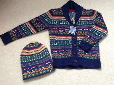 Boys Joules cardigan and winter woolly hat age 8 years  hat size M/L reversible