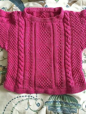 Vintage Aran Cable Sweater Child Hand Knitted Pink Cotton Very Good Condition