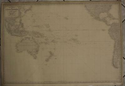 Oceania Americas South Pacific Ocean 1865 Vincendon Dumoulin Wall Antique Map