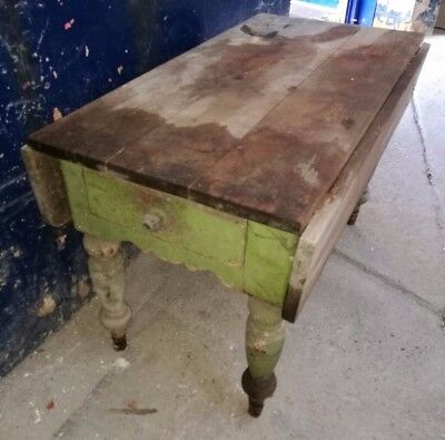 Antique ~Victorian? ~Pine ~Scrub Top Table ~Drop Leaf ~Drawer ~Glass Handle