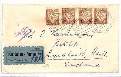 AV261 1936 PORTUGAL Colonies MOZAMBIQUE Airmail Cover Taxe Perçue GB Lyndhurst
