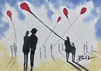 ACEO Original Art Watercolour Painting by Bill Lupton - Balloon Day
