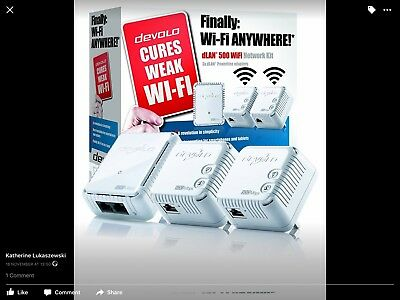 Devolo DLAN 500 Wifi power line extender kit. 1 main box and 3! Extenders.