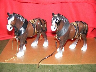 2 Large Plastic CLYDSDALE HORSES with Partial Harnesses