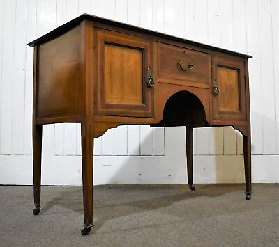 Antique Victorian inlaid mahogany console table / washtand / side cabinet