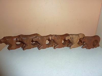 Vintage Set Of 6 Carved 10Cm Long Wooden Napkin Rings In The Form Of Male Lions