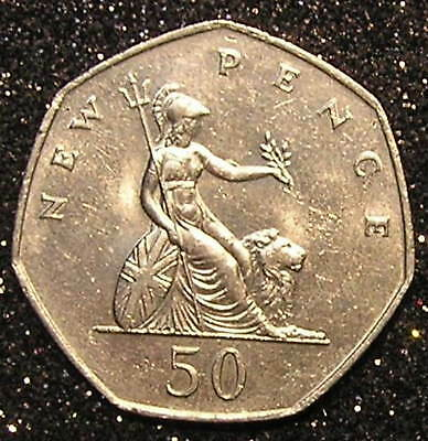 1-Coin from Great Britain.  50-Pence.  1977.