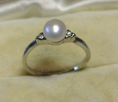 Vintage Art Deco Sterling Silver antique genuine South Sea Pearl ring size 7 1/2