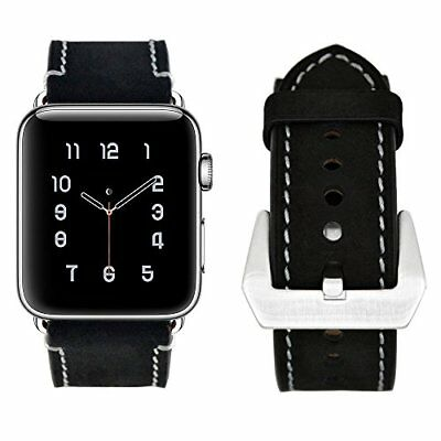 Watch Band For Apple Series 1/2/3 Genuine Modern Real Leather Strap-42mm Black