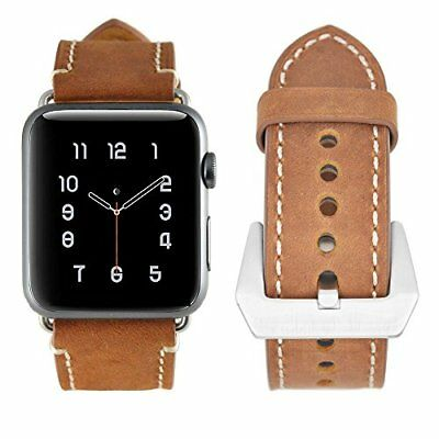 Watch Band For Apple Series 1/2/3 With Genuine Modern Leather Strap-42mm Brown