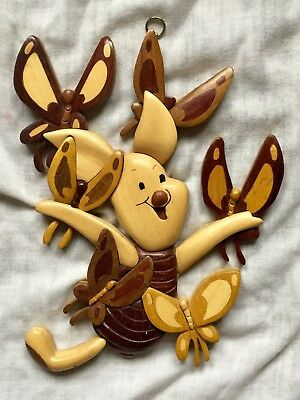 Disney Intarsia PIglet with Butterflies Wood Wooden Wall Hanging