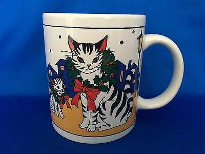 Vintage STUDIO NOVA Christmas Cat Coffee Mug Cup