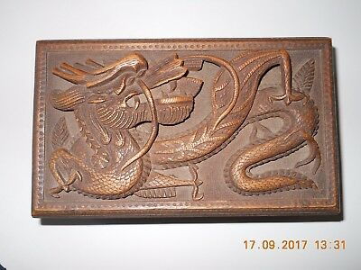 Vintage High Relief Carved Wood Chinese Wooden Dragon Jewellery Box