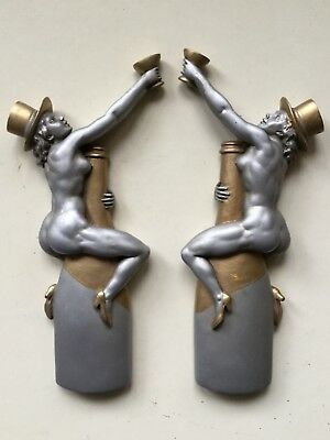 Pair nude pinup girl wall plaques retro Art Deco style