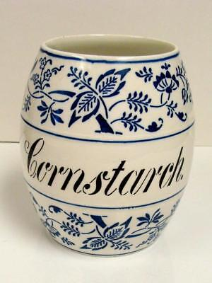 Large Antique German Pottery ~Blue Onion~ Storage Jar RARE -Cornstarch Cannister
