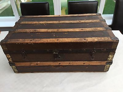 Antique/Old/Vintage Wood and Metal Banded Steamer/Travel/Treasure/Toy/Trunk