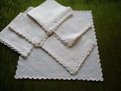 Antique Tea Napkins - Embroidery Decoration - Set 6